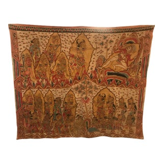 Large Antique Balinese Handwoven and Painted Batik Tapestry For Sale