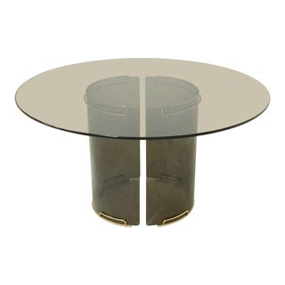 Round Grey Smoky Glass Dining Table with Curved Glass Base and Brass Fittings For Sale