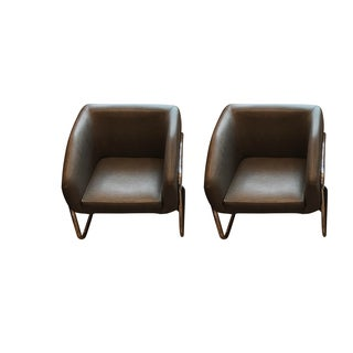 Milo Baughman Style Club Chairs - A Pair For Sale