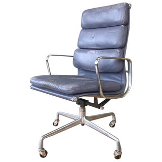Eames for Herman Miller Periwinkle Leather Soft Pad Executive Chair, 1985 For Sale