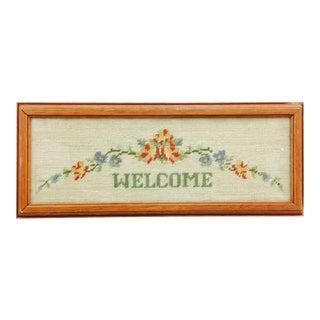 """Vintage Framed """"Welcome"""" Needlepoint Art For Sale"""