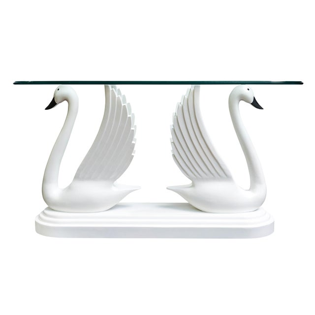 Double Swan Glass Top Console Table For Sale - Image 13 of 13