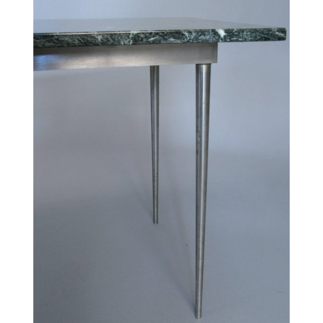 Metal Vintage 1960s Steel and Green Marble Top Table For Sale - Image 7 of 8