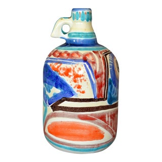 Italian Giovanni Desimone Hand-Painted Pottery, Decanter, Vessel For Sale