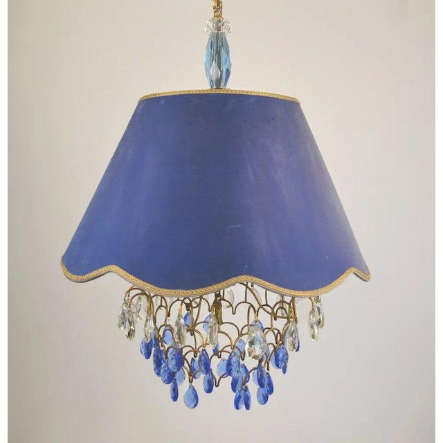 Transitional Blue Shade Crystal Pendant For Sale - Image 3 of 9