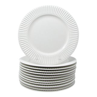 Vintage Dansk Rondure White Fluted Stoneware Dinner Plates - Set of 12 For Sale