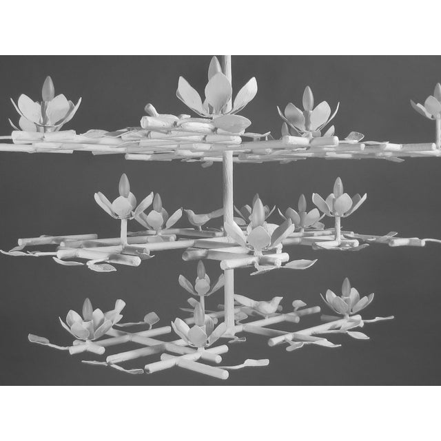 Not Yet Made - Made To Order 3 Layer Garden Plaster Chandelier With White Finish For Sale - Image 5 of 7