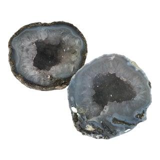Round Gray Geode Stones - a Pair