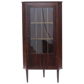 Brazilian Rosewood and Glass Danish Corner Cabinet For Sale