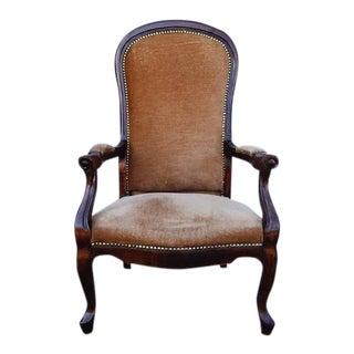 Louis XV Style Armchair Flatback Fauteuil Brandy Velvet Upholstery For Sale