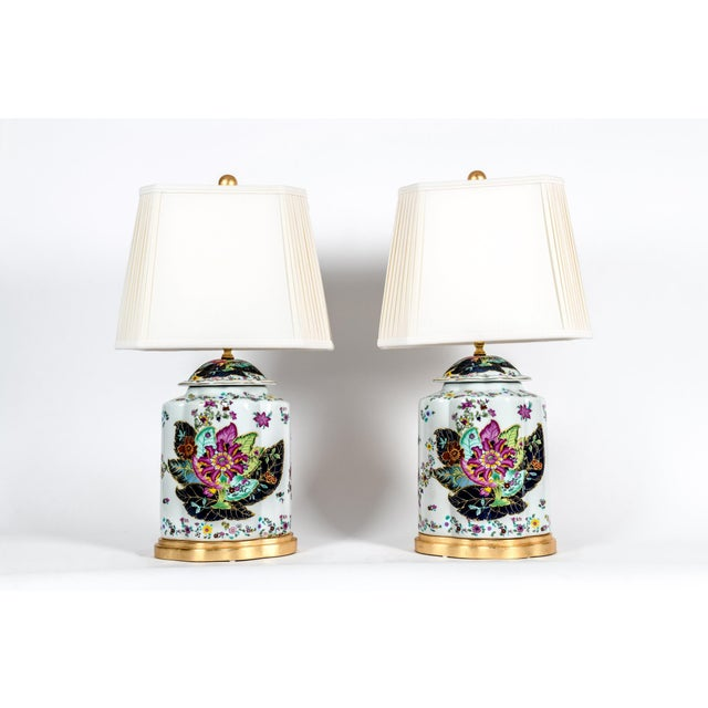 Contemporary Late 20th Century French Porcelain Lamps With Wood Base - a Pair For Sale - Image 3 of 13