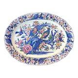 Image of Vintage Colorful Floral and Birds Pattern Porcelain Japanese Ceramic/Platter For Sale