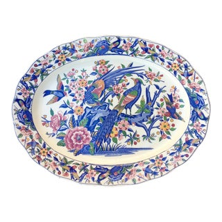 Vintage Colorful Floral and Birds Pattern Porcelain Japanese Ceramic/Platter For Sale
