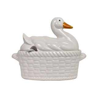 Basket-Weave Duck Tureen