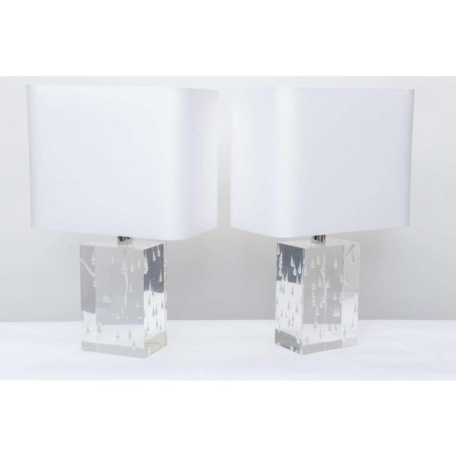 """Raindrops encased in lucite created in a rare air bubble control design. Measures: Lucite: 9"""" Height."""