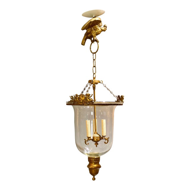 Louis Philippe Brass Bell Form Hall Lantern For Sale