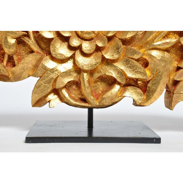 Teak Wood Carving With Gold Paint on Metal Stand For Sale - Image 11 of 13