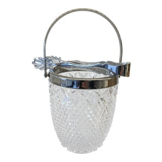 Vintage Crystal Ice Bucket & Tongs