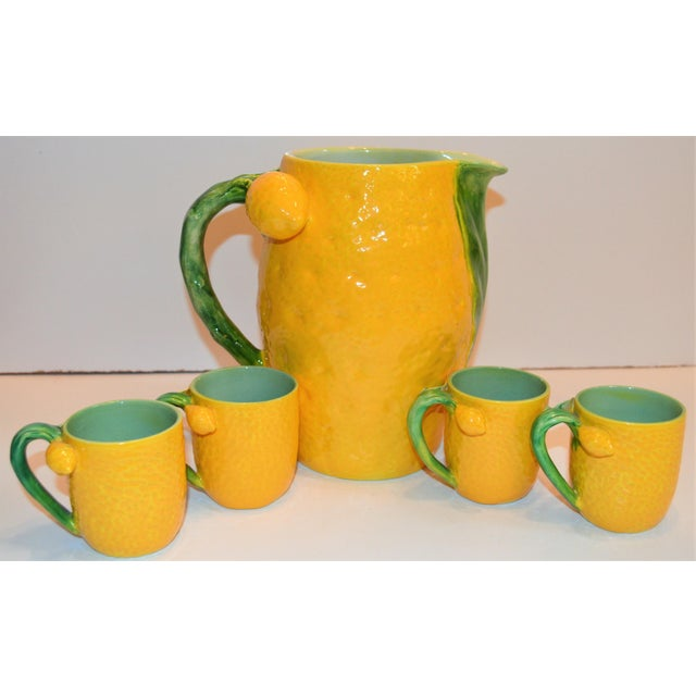 Ceramic 1970s (Final Markdown). Majolica Limoncello Pitcher and Cups- 5 Pieces For Sale - Image 7 of 7