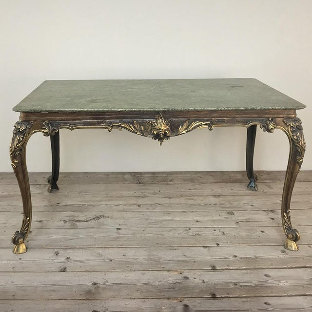 Mid 20th Century Mid-Century Italian Louis XIV Brass & Marble Coffee Table For Sale - Image 5 of 12