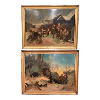 19th Century Swedish Framed Pastoral Paintings Signed B. Nordenberg Circa 1870 - a Pair For Sale