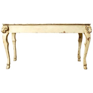Rustic Italian Lacquered Ram's Head Motif Writing Table For Sale