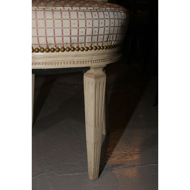 Wood Set of Four White Painted Cane Back Chairs Stamped Jansen For Sale - Image 7 of 10