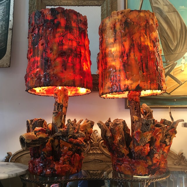 Vintage Waxed Cholla Wood Lamps - A Pair - Image 2 of 11