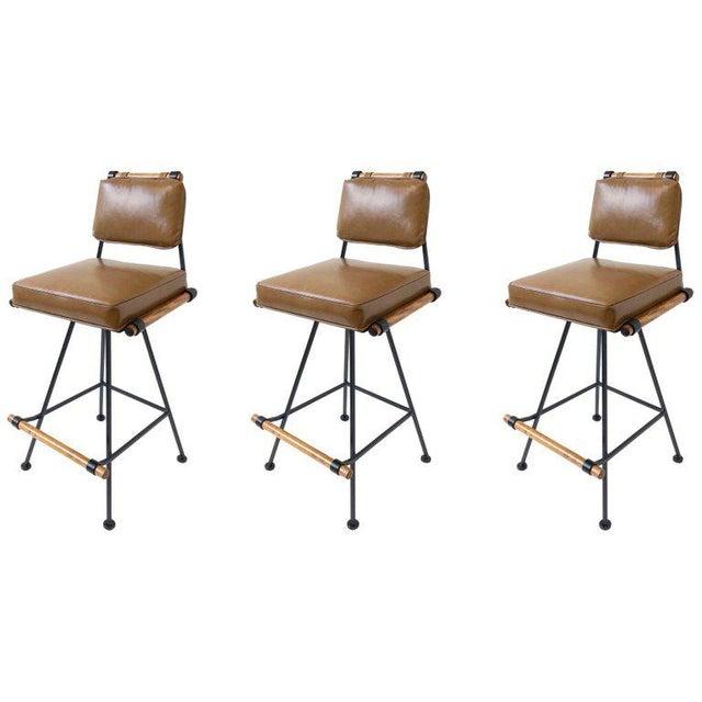 Set of Three Swivel Barstools For Sale - Image 10 of 10