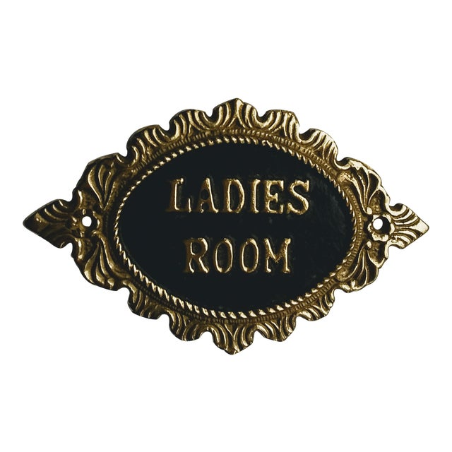 1980s Solid Brass Embossed Ladies Room Sign For Sale