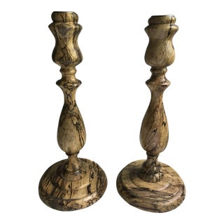Turned Burl Wood Candlesticks - a Pair For Sale