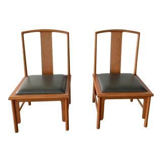 1980s Vintage Michael Taylor Baker Chinoiserie Style Dining Chairs- A Pair For Sale