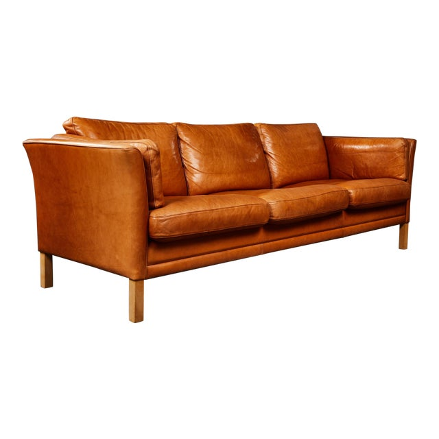 A Handsome Leather Scandinavian Sofa For Sale