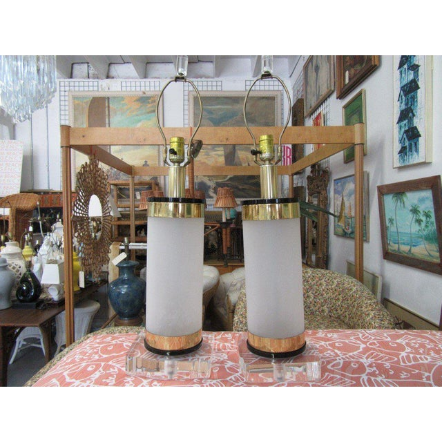 Brass & Lucite Bauer Lamps - A Pair - Image 8 of 8