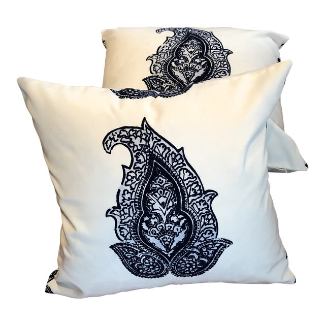 Indoor / Outdoor White & Navy Accented Pillows - A Pair For Sale