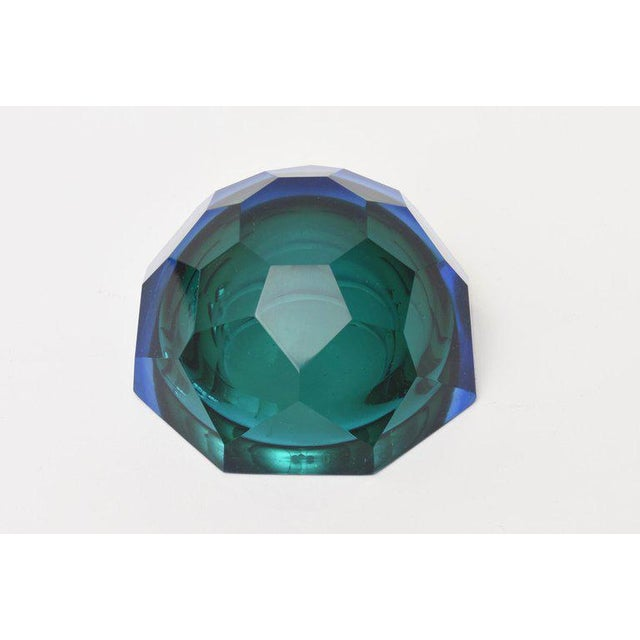 Italian Murano Diamond Faceted Sommerso Geode Glass Bowl For Sale - Image 9 of 11