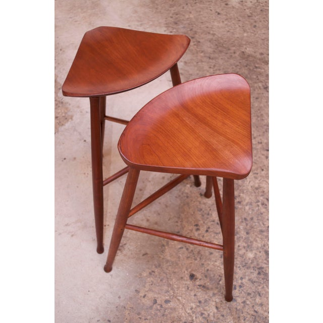 1980s Vintage Solid Walnut Studio Craft Bar Stools by David Scott - a Pair For Sale - Image 5 of 13