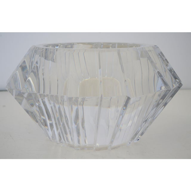 Glass Mid-Century Swedish Modern Orrefors Crystal Faceted Bowl For Sale - Image 7 of 12