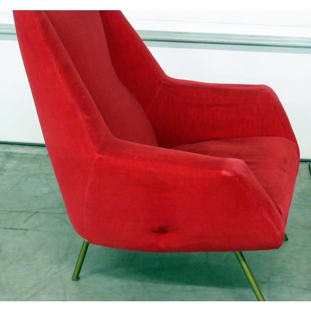 Mid 20th Century Red Italian Modern Lounge Chairs - a Pair For Sale In Philadelphia - Image 6 of 9