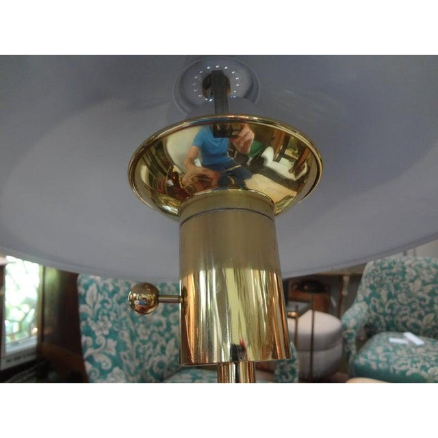 Metal Vintage Polished Brass Lamp With Brass Shade For Sale - Image 7 of 13