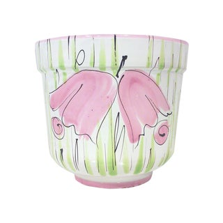 Italian Pink Floral Ceramic Planter For Sale