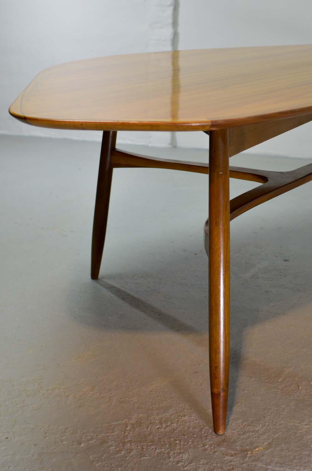 Teak Mid Century Swedish Design Free Form Kidney Shaped Lacquered Teakwood Coffee  Table By Svante