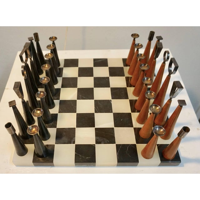 Mid 20th Century Mid Century Minimalist Chess Set - Set of 33 For Sale - Image 5 of 6
