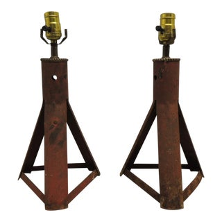Pair of Industrial Car Jacks Rusted Vintage Artisanal Lamps For Sale