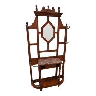 Antique Wooden Victorian Hall Tree For Sale