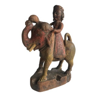 Late 19th Century Antique Anglo Indian Crowned Figure Riding an Elephant Wood Sculpture For Sale