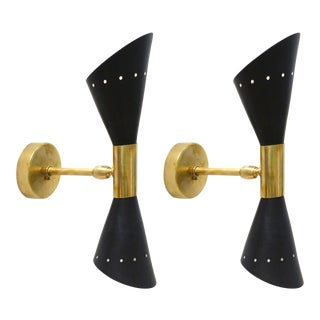 Rare Pair of Adjustable 1950s Italian Stilnovo Wall Sconces With Brass Trim For Sale