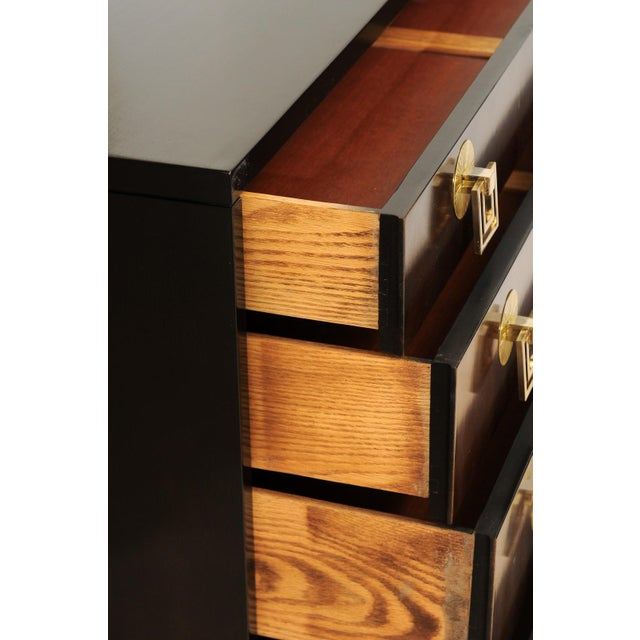 Wood Exquisite Mahogany and Bookmatch Bird's-Eye Maple Chest by Renzo Rutili For Sale - Image 7 of 11