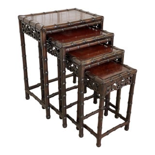 Vintage Rosewood Faux Bamboo Nesting Stack Tables-Four For Sale