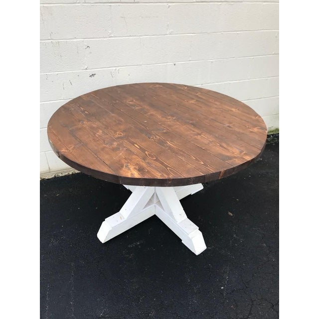 Rustic Rustic Walnut Round Farm Table For Sale - Image 3 of 6